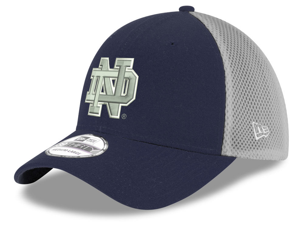 Notre Dame Fighting Irish New Era NCAA Mesh Back Gray Neo 39THIRTY Cap  c5f3cb0fec56