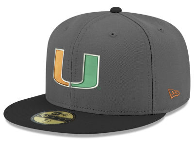 Miami Hurricanes New Era NCAA Gray and Black 59FIFTY Cap