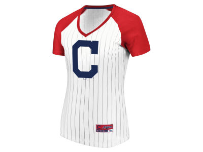 Cleveland Indians Majestic MLB Women's Every Aspect Pinstripe T-Shirt