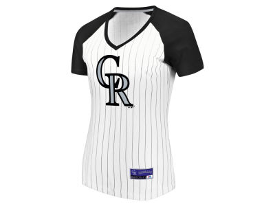 Colorado Rockies Majestic MLB Women's Every Aspect Pinstripe T-Shirt