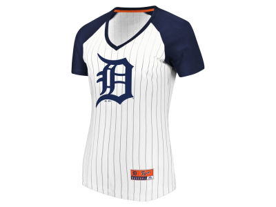 Detroit Tigers Majestic MLB Women's Every Aspect Pinstripe T-Shirt