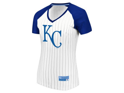Kansas City Royals Majestic MLB Women's Every Aspect Pinstripe T-Shirt