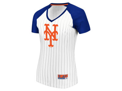 New York Mets Majestic MLB Women's Every Aspect Pinstripe T-Shirt