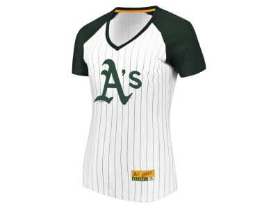 Oakland Athletics Majestic MLB Women's Every Aspect Pinstripe T-Shirt