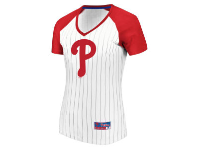 Philadelphia Phillies Majestic MLB Women's Every Aspect Pinstripe T-Shirt