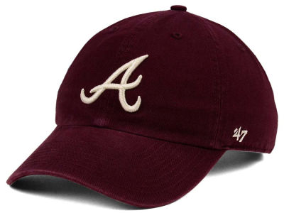 Atlanta Braves '47 MLB Dark Maroon CLEAN UP Cap