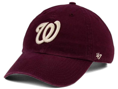 Washington Nationals '47 MLB Dark Maroon CLEAN UP Cap