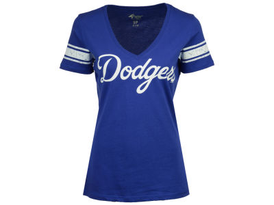 Los Angeles Dodgers G-III Sports MLB Women's First Pick Sleeve Stripe T-Shirt
