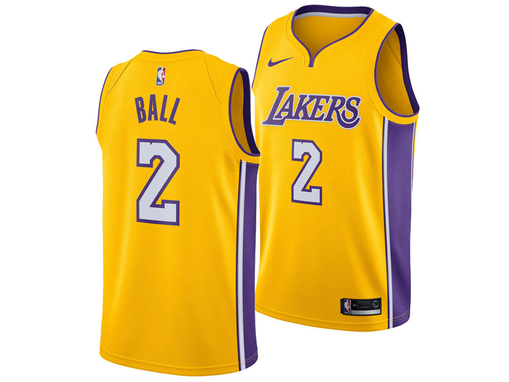 Los Angeles Lakers Lonzo Ball Nike NBA Men s Icon Swingman Jersey ... 05673d993