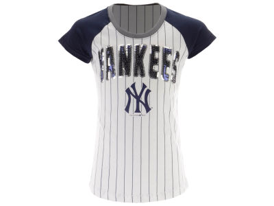 New York Yankees 5th & Ocean MLB Girls Sequin Pinstripe T-Shirt