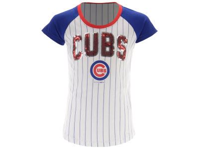 Chicago Cubs 5th & Ocean MLB Girls Sequin Pinstripe T-Shirt