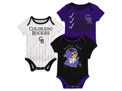 Colorado Rockies Majestic MLB Newborn Play Ball 3 Piece Set