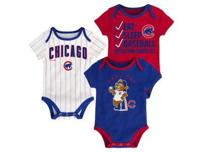Chicago Cubs Majestic MLB Newborn Play Ball 3 Piece Set
