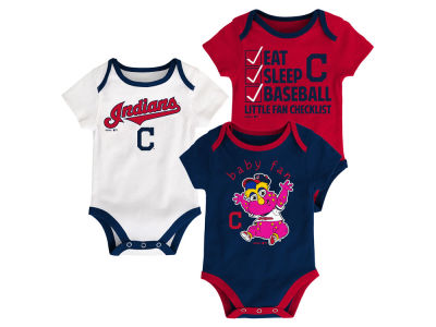Cleveland Indians Majestic MLB Newborn Play Ball 3 Piece Set