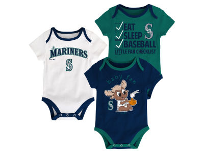 Seattle Mariners Majestic MLB Newborn Play Ball 3 Piece Set