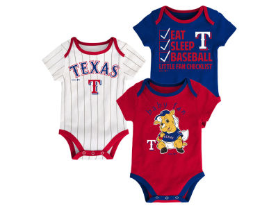 Texas Rangers Majestic MLB Newborn Play Ball 3 Piece Set