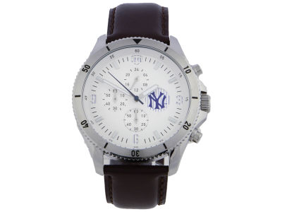 New York Yankees Jack Mason Chronograph Watch with Brown Leather Strap