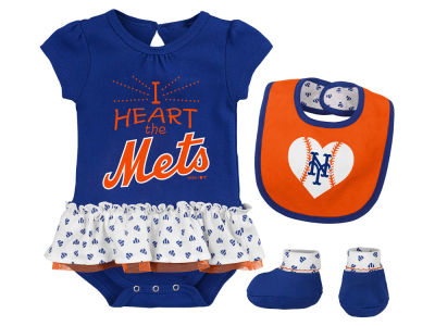 New York Mets Majestic MLB Newborn Girls Bib & Booty Set