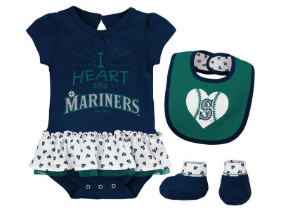 Seattle Mariners Majestic MLB Newborn Girls Bib & Booty Set