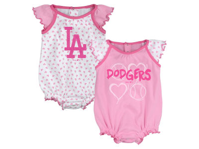 Los Angeles Dodgers MLB Newborn Girls Heart Creeper Set