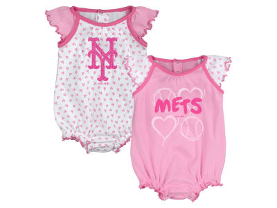 New York Mets MLB Newborn Girls Heart Creeper Set