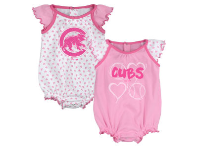 Chicago Cubs Majestic MLB Newborn Girls Heart Creeper Set