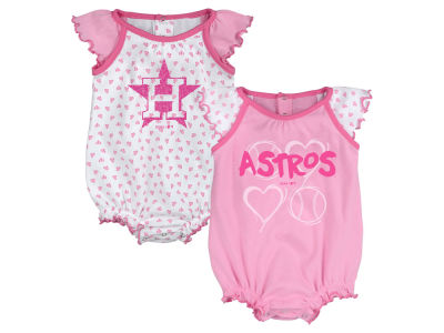 Houston Astros MLB Newborn Girls Heart Creeper Set