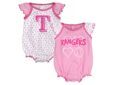 Texas Rangers Majestic MLB Newborn Girls Heart Creeper Set
