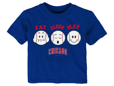 Chicago Cubs Majestic MLB Toddler Eat, Sleep, Play T-Shirt