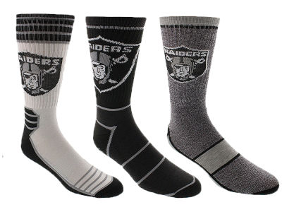 Oakland Raiders Crew Socks - 3pk