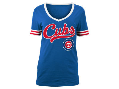Chicago Cubs 5th & Ocean MLB Women's Retro V T-Shirt
