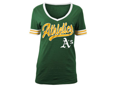 Oakland Athletics 5th & Ocean MLB Women's Retro V T-Shirt