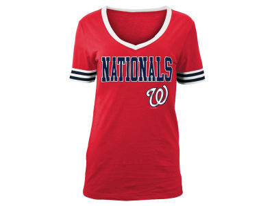 Washington Nationals 5th & Ocean MLB Women's Retro V T-Shirt