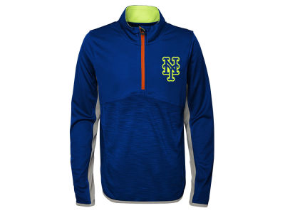New York Mets Majestic MLB Youth Excellence Quarter Zip Pullover
