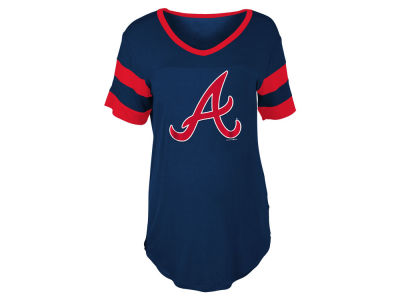 Atlanta Braves 5th & Ocean MLB Women's Sleeve Stripe Relax T-shirt