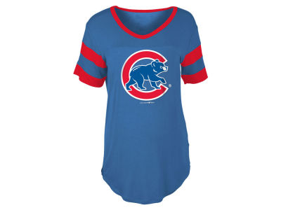 Chicago Cubs 5th & Ocean MLB Women's Sleeve Stripe Relax T-shirt
