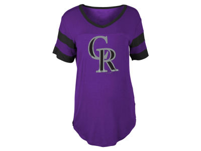 Colorado Rockies 5th & Ocean MLB Women's Sleeve Stripe Relax T-shirt