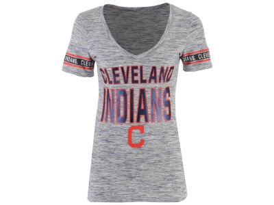 Cleveland Indians 5th & Ocean MLB Women's Space Dye Sleeve T-Shirt