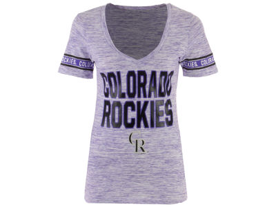 Colorado Rockies 5th & Ocean MLB Women's Space Dye Sleeve T-Shirt