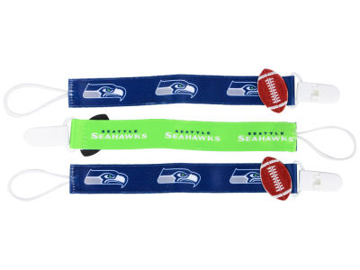 Seattle Seahawks Baby Fanatic 3 Pack Pacifier Clips