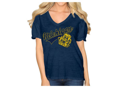 Michigan Wolverines Retro Brand NCAA Women's Rolled Sleeve V-Neck T-Shirt
