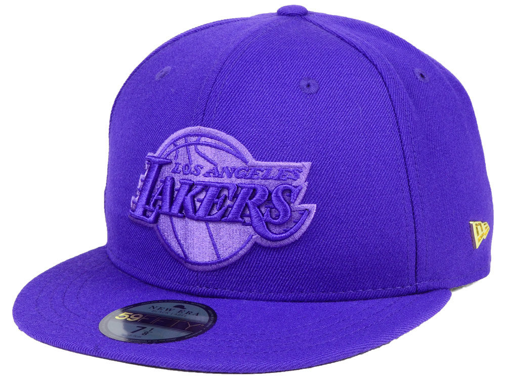 Los Angeles Lakers New Era NBA Black Label Essential 59FIFTY Cap ... 4e1638cca491