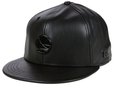 Golden State Warriors New Era NBA Black Label Glossy Metal 9FIFTY Snapback Cap