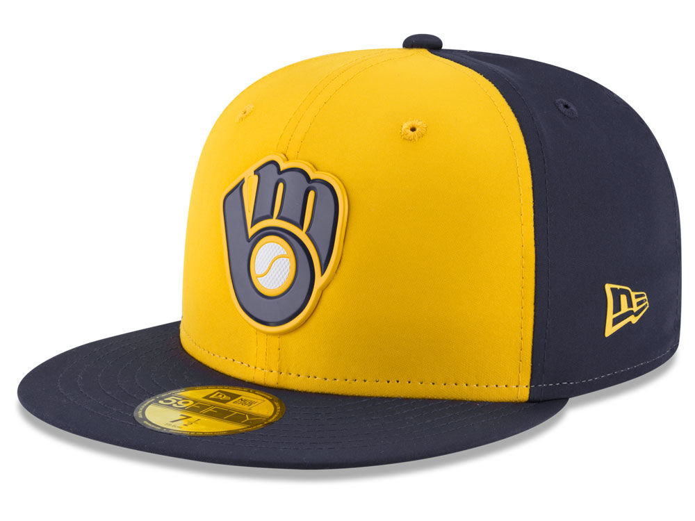 77912936f1f Milwaukee Brewers New Era MLB Batting Practice Prolight 59FIFTY Cap ...