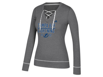 Tampa Bay Lightning adidas NHL Women's Skate Lace Long Sleeve T-Shirt