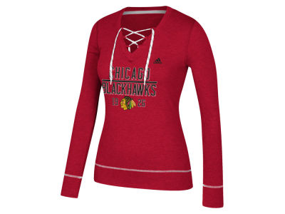Chicago Blackhawks adidas NHL Women's Skate Lace Long Sleeve T-Shirt