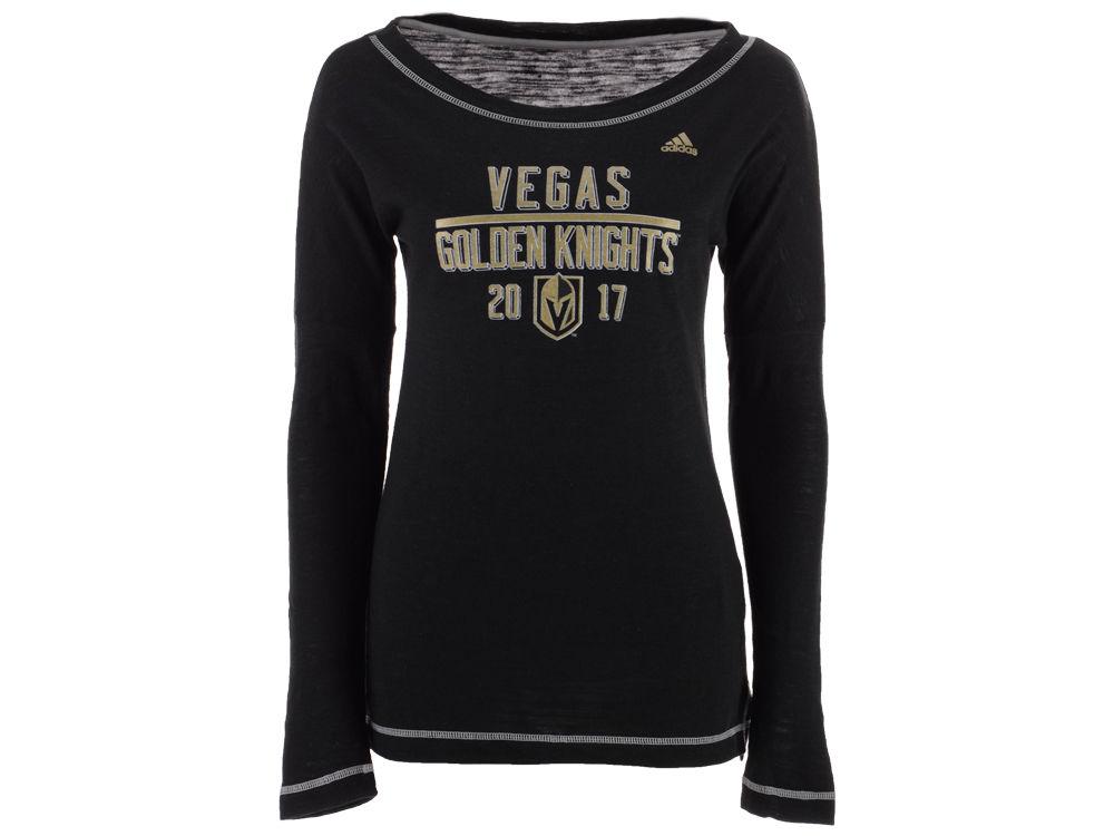 Vegas Golden Knights adidas NHL Women s Tri-blend Boat Neck Long Sleeve T- shirt  13d78ec0e