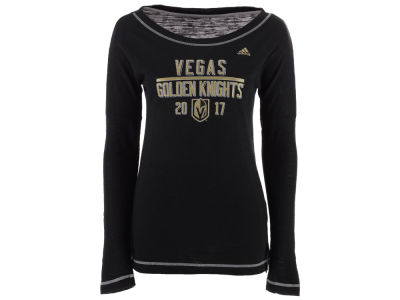 Vegas Golden Knights adidas NHL Women's Tri-blend Boat Neck Long Sleeve T-shirt