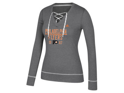 Philadelphia Flyers adidas NHL Women's Skate Lace Long Sleeve T-Shirt