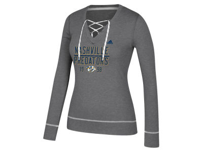 Nashville Predators adidas NHL Women's Skate Lace Long Sleeve T-Shirt